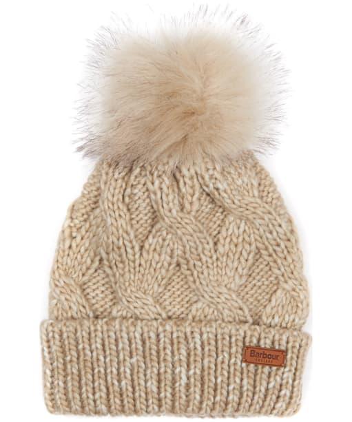 Women's Barbour Bridport Pom Pom Beanie Hat - Beige