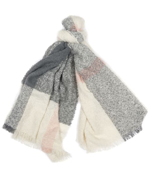 Women's Barbour Plaid Boucle Wrap - Ecru / Pink / Grey