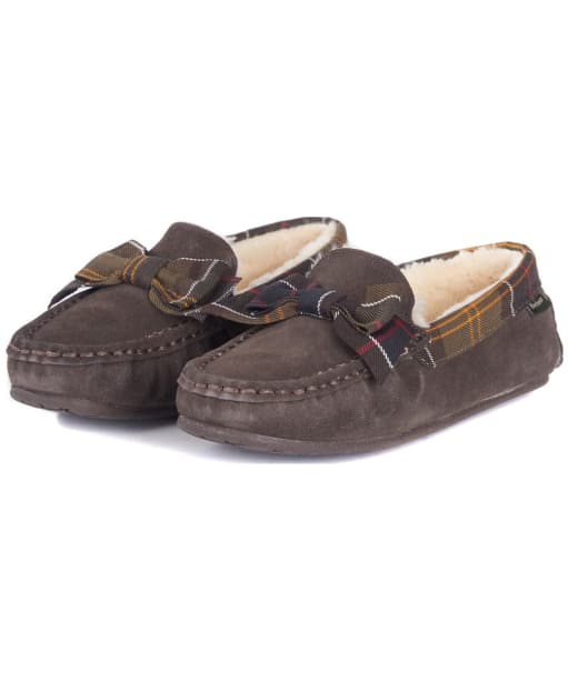 Women's Barbour Sadie Moccasin Slippers - Brown Suede