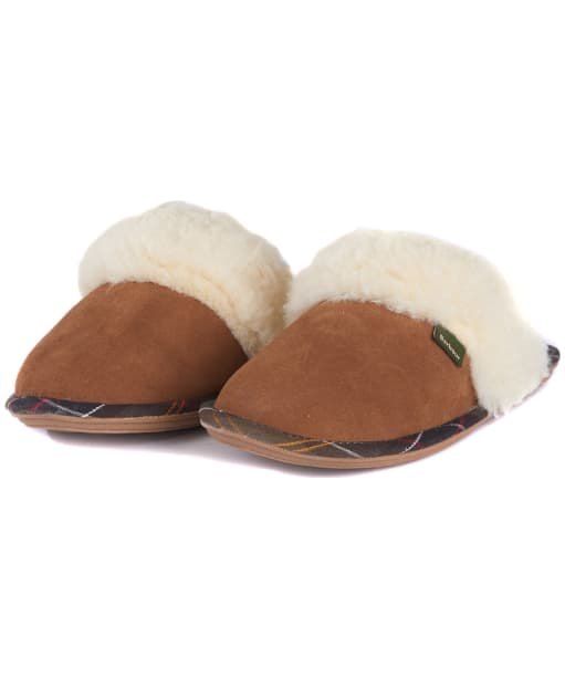 Women's Barbour Lydia Suede Mule Slippers - Camel Suede