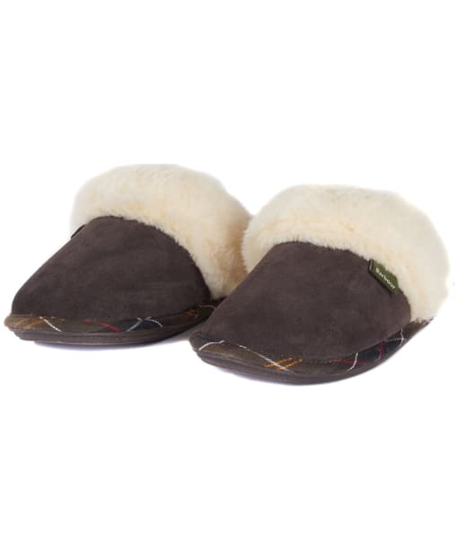 Women's Barbour Lydia Suede Mule Slippers - Brown Suede