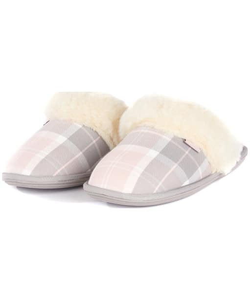 Women's Barbour Lydia Mule Slippers - Pink / Grey Tartan
