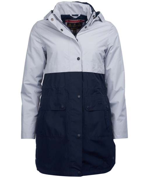 Women's Barbour Damini Waterproof Jacket - Ice White / Navy
