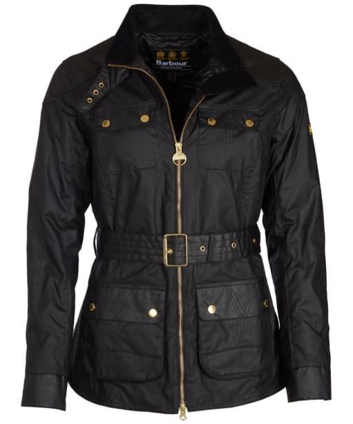 Women's Barbour International Hubcap Waxed Jacket - Black