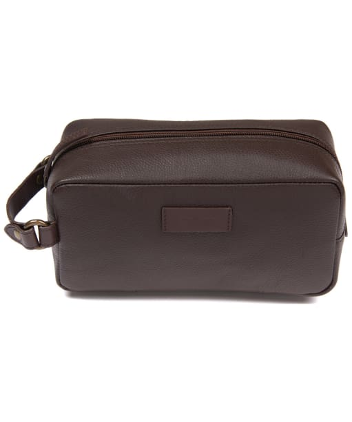 Men's Barbour Compact Leather Washbag - Brown