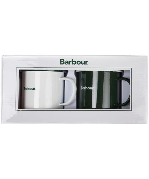 Men's Barbour Enamel Mug Giftset - White / Green