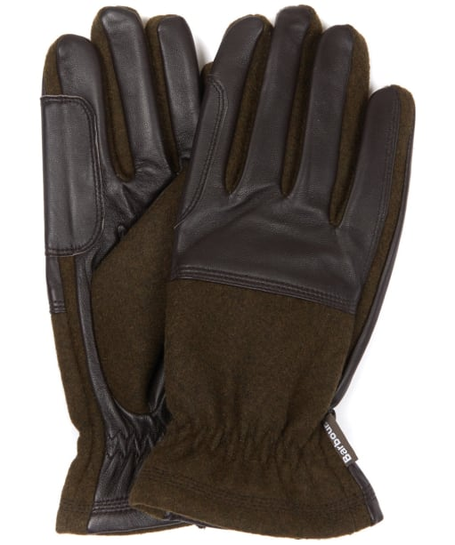 Men's Barbour Rugged Melton Wool Mix Gloves - Olive / Brown