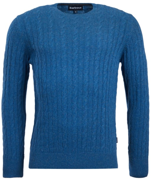 Men's Barbour Essential Cable Crew Neck Sweater - Chambray
