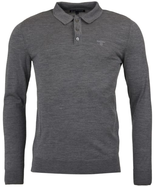 Men's Barbour Merino Long Sleeve Polo Top - Mid Grey Marl