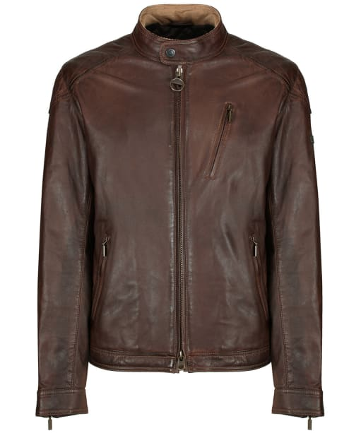 Men's Barbour International James Leather Jacket - Cognac