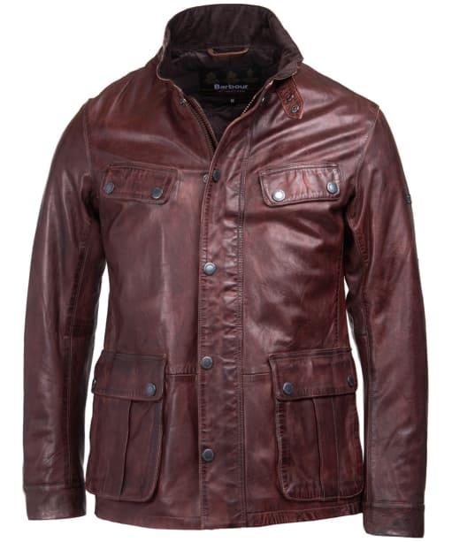 Men's Barbour International John Leather Jacket - Red / Brown