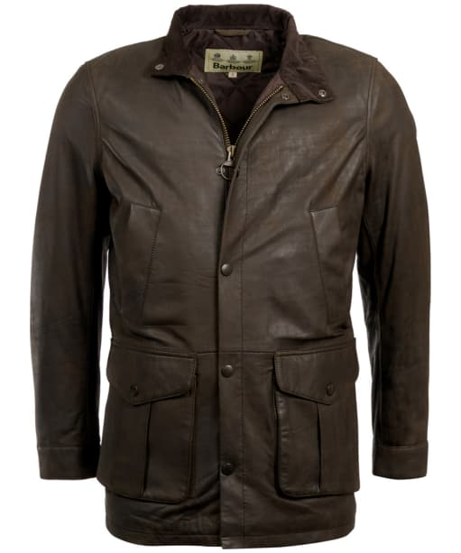 Men's Barbour Thomas Leather Jacket - Dark Olive