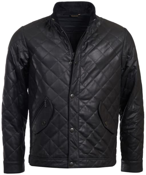 Men's Barbour Peter Leather Jacket - Black