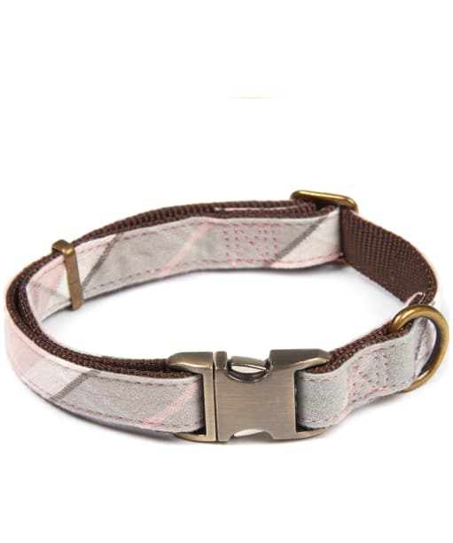 Barbour Tartan Webbing Dog Collar - Pink / Grey Tartan