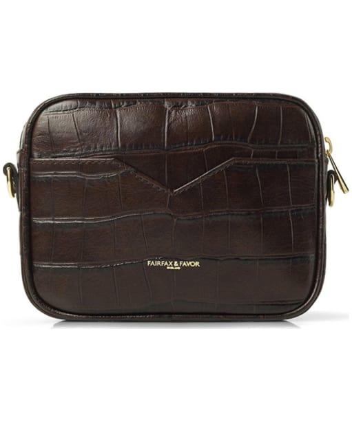 Fairfax & Favor The Madison Croc Print Leather Bag - Brown Croc