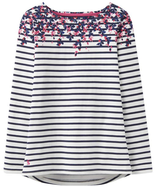 Women's Joules Harbour Print Jersey Top - Acorn Border Stripe