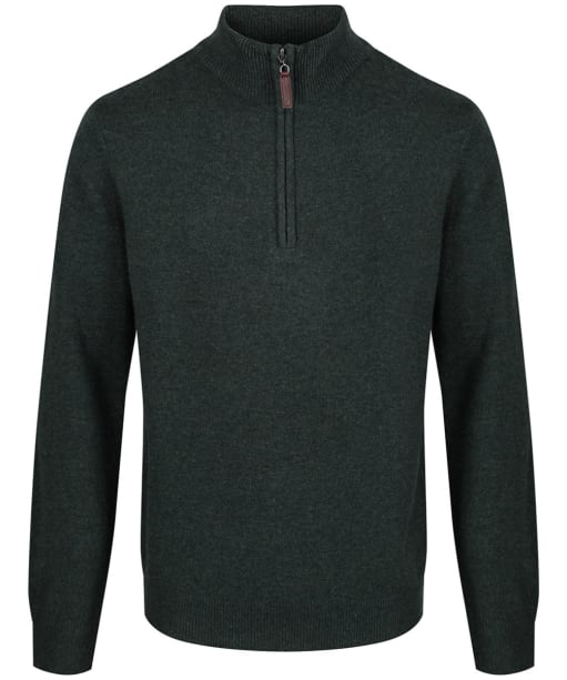 Men's Schoffel Lambswool ¼ Zip Sweater - Forest