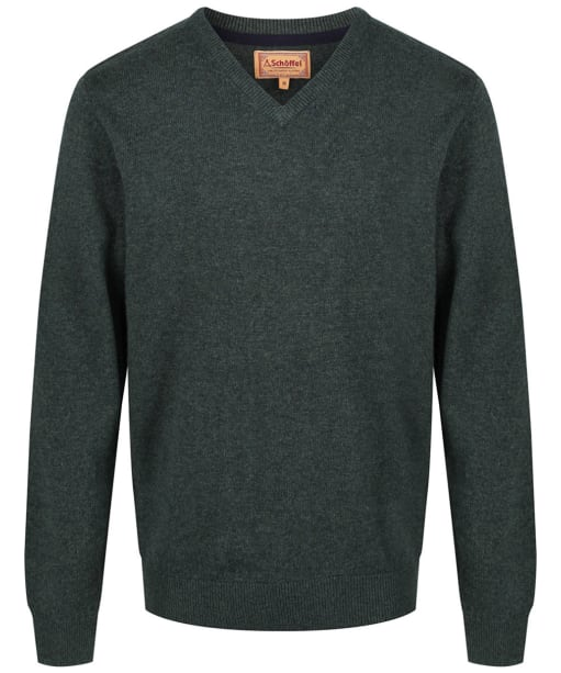 Men's Schoffel Lambswool V Neck Sweater - Forest