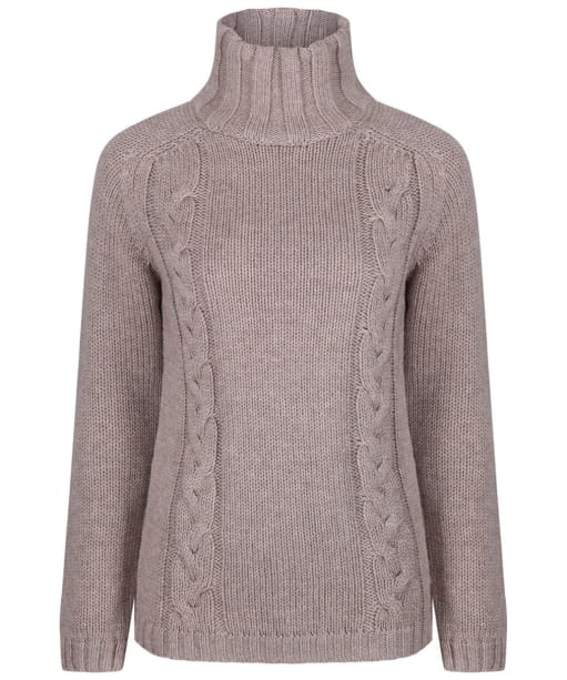 Women's Schoffel Merino Cashmere Cable Roll Neck Sweater - Mink