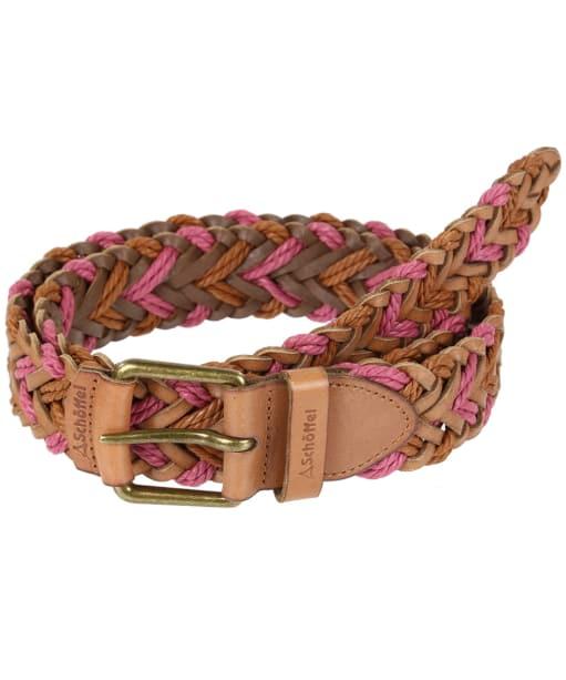 Schoffel Woven Leather Belt - Tan / Rose