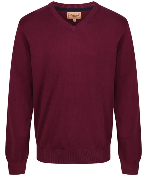 Men's Schoffel Cotton and Cashmere V Neck Jumper - Fig