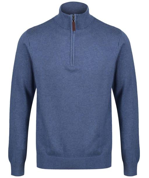 Men's Schoffel Cotton ¼ Zip Jumper - Stone Blue