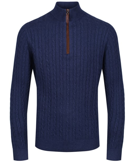 Men's Schoffel Cotton Cashmere Cable 1/4 Zip Sweater - Indigo