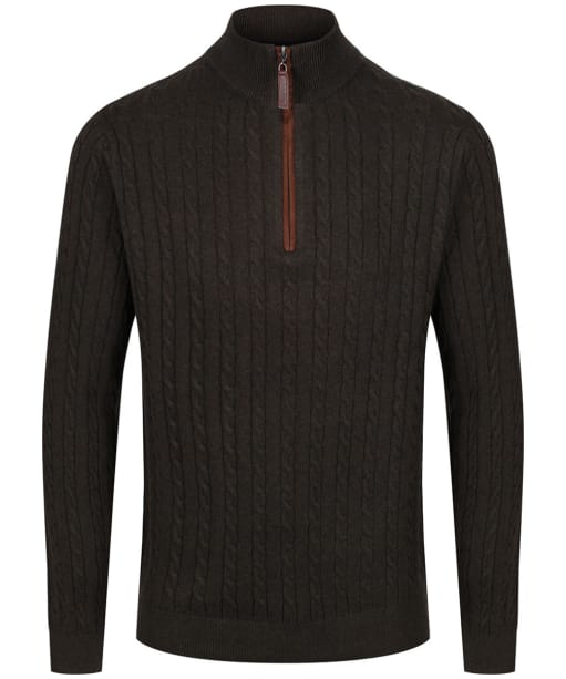Men's Schoffel Cotton Cashmere Cable 1/4 Zip Sweater - Loden Green
