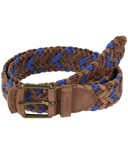 Schoffel Woven Leather Belt - Brown / Blue