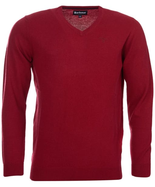 Men's Barbour Essential Lambswool V Neck Sweater - Biking Red