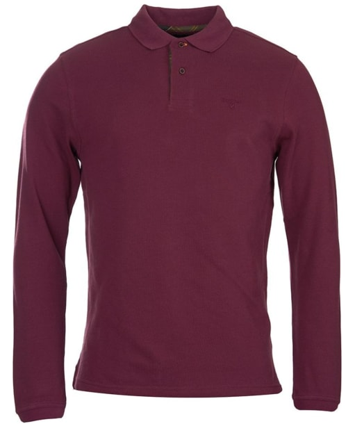 Men's Barbour Long Sleeved Sports Polo Shirt - Merlot
