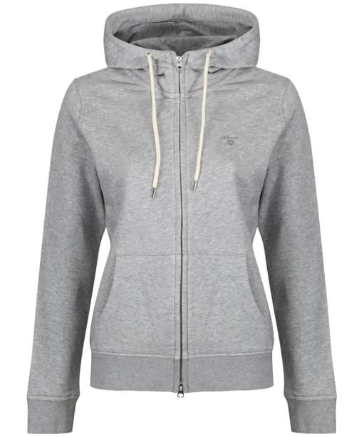 Women's GANT Full Zip Hooded Sweatshirt - Grey Melange
