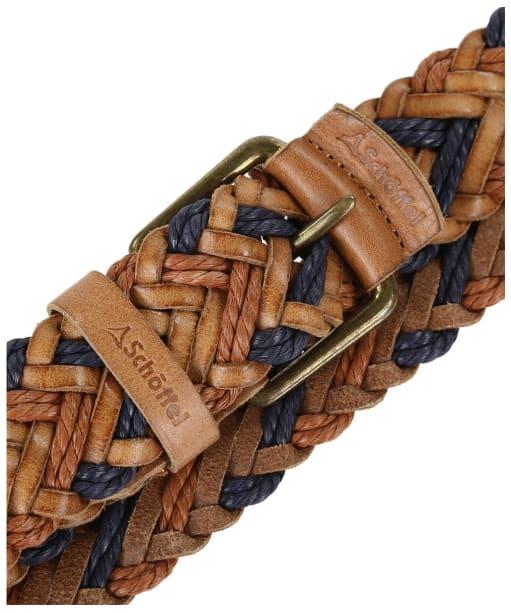 Schoffel Woven Leather Belt - Tan / Navy
