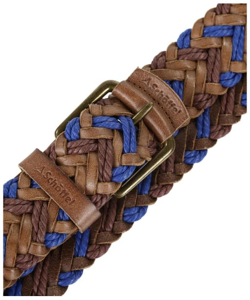 Schoffel Woven Leather Belt - Brown / Blue