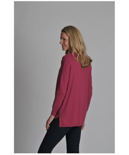 Women's Schoffel Cotton/Cashmere Crew Neck Sweater - Raspberry