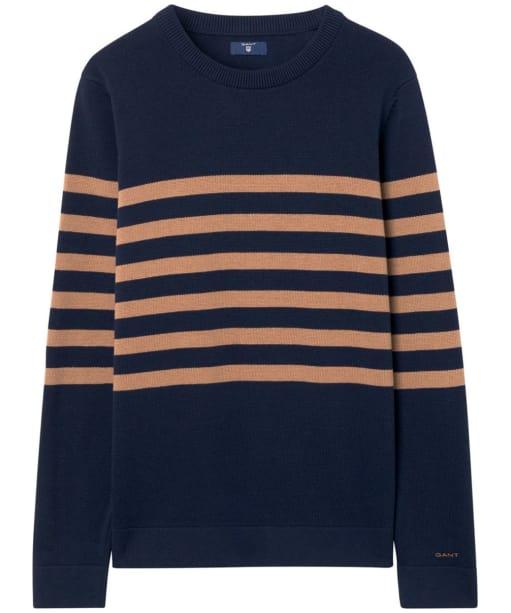 Women's GANT Striped Cotton Crew Sweater - Marine