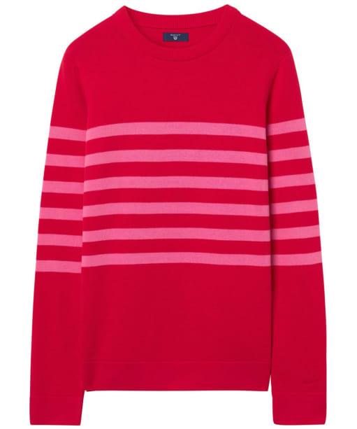 Women's GANT Striped Cotton Crew Sweater - Atomic Orange