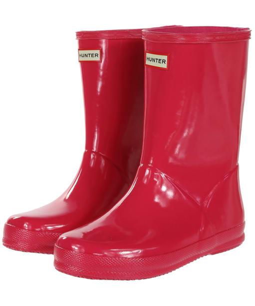 Hunter Original Kids First Gloss Wellington Boots - Bright Pink