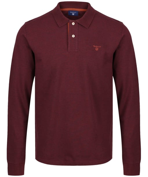 Men's GANT Pique Rugger Polo Shirt - Dark Burgundy Melange
