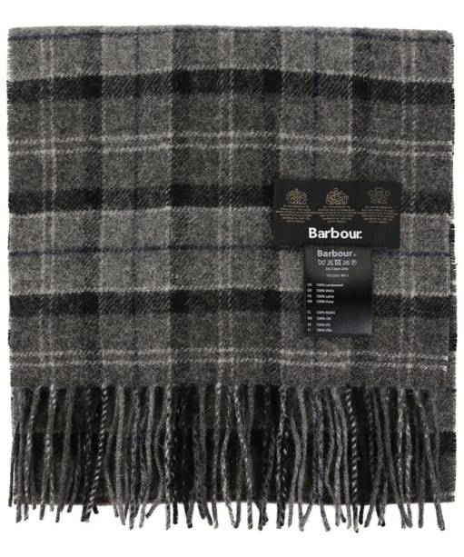 Barbour Tartan Lambswool Scarf - Black / Grey Tartan