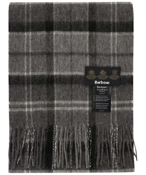 Barbour Tartan Merino Cashmere Wool Scarf - Black / Grey Tartan