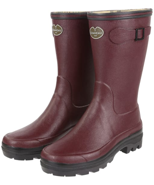 Women's Le Chameau Giverny Botillon Wellington Boots - Cherry