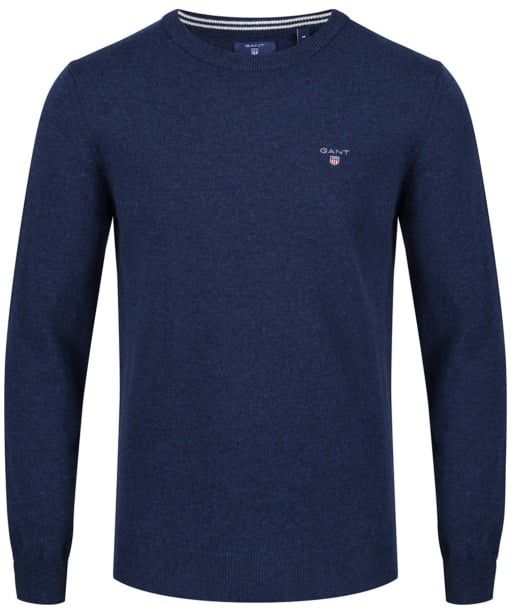 Men's GANT Super Fine Lambswool Sweater - Dark Cobalt Blue Melange