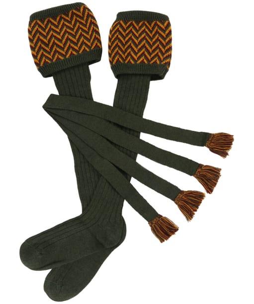 Men's Schoffel Herringbone Socks - Forest / Ochre / Mulberry