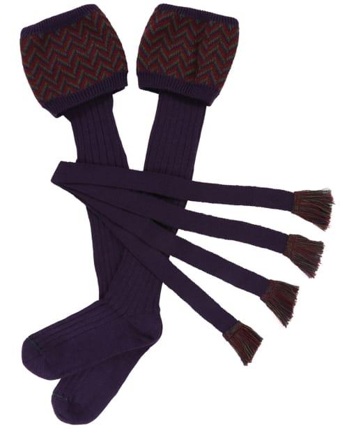 Men's Schoffel Herringbone Socks - Aubergine / Forest / Mulberry