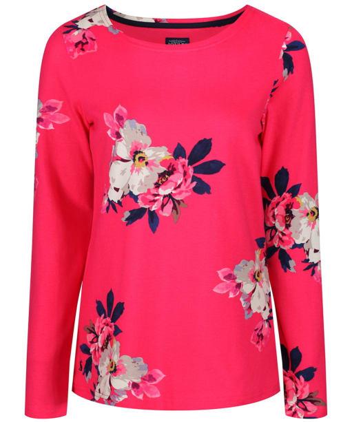 Women's Joules Harbour Print Jersey Top - Raspberry Bircham Bloom