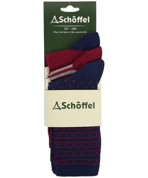 Women's Schoffel Beck Bamboo Socks (Pack of 3) - Navy Mix