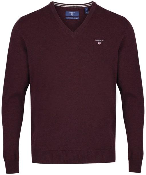 Men's GANT Super Fine Lambswool Sweater - Dark Burgundy Melange
