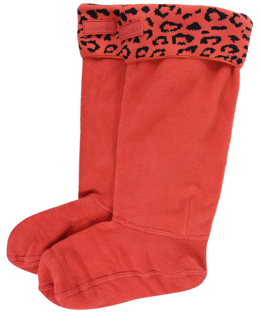 Women's Hunter Orginal Snow Leopard Boot Socks - Honeysuckle Leopard Jacquard