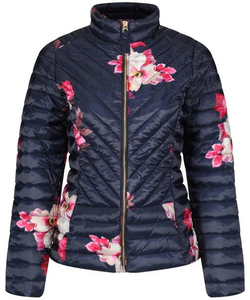 Women's Joules Elodie Print Quilted Jacket - Marine Navy Bircham Bloom